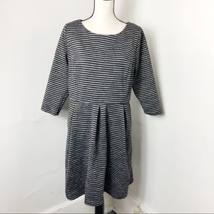 Merona Striped Pleated Fit And Flare Dress 1X